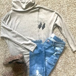 Long-sleeve, cowlneck sweater